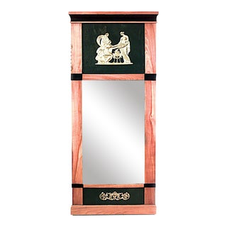 Swedish Biedermeier Maple and Black Lacquered Wall Mirror For Sale