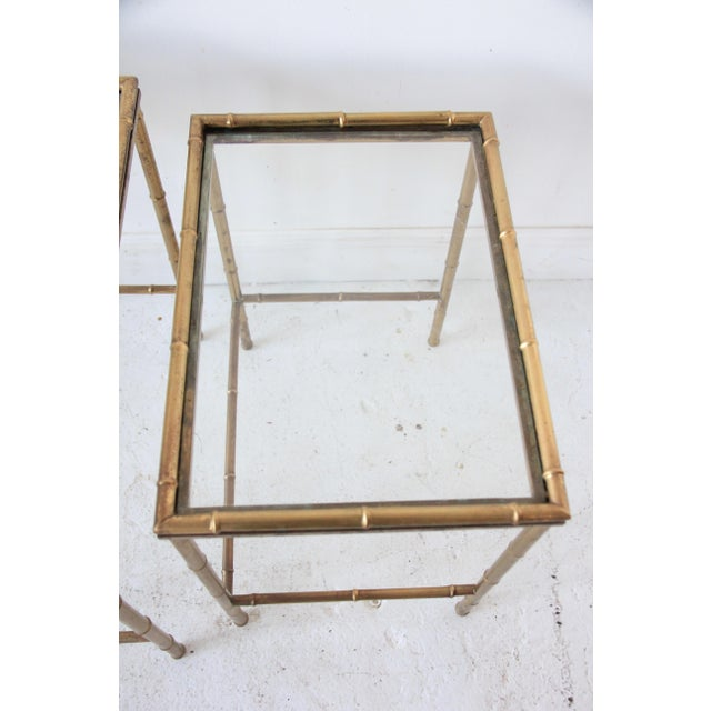 Brass Vintage Brass Faux Bamboo Nesting Tables - Set of 3 For Sale - Image 7 of 9