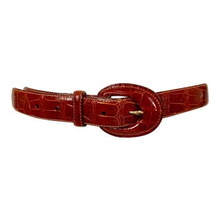 Brown American Alligator Belt and Buckle For Sale