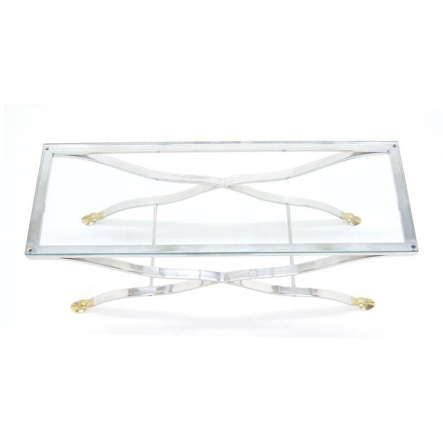 Mid Century Modern Chrome Glass Top Console Table with Brass Hoof-Feet For Sale In New York - Image 6 of 10