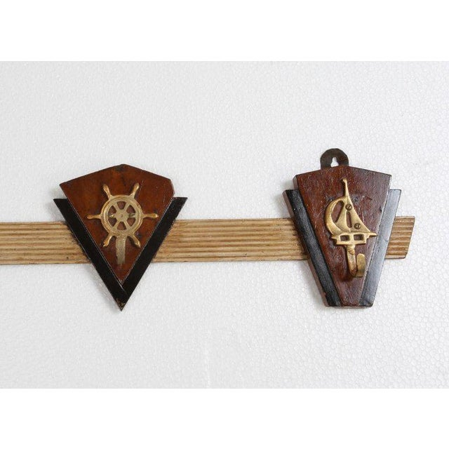 Mid-Century Modern Nautical Coat Hooks From 1970s Cruise Ship For Sale - Image 3 of 6