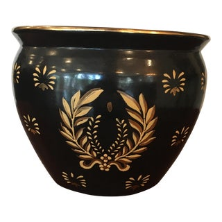 Late 20th Century Art Nouveau Black and Gold Small Fishbowl Planter Bowl