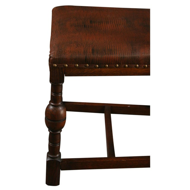 Vintage 1930 French Leather & Oak Dining Chair - Image 8 of 10
