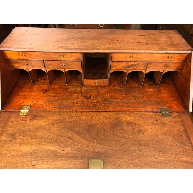 Wood 18th Century Antique George III Mahogany Bureau For Sale - Image 7 of 9