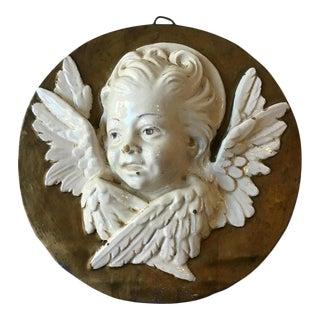 1940s Italian Ceramic Angel Plaque For Sale