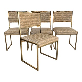 Set of 4 Mid Century 1970's Brass Dining Chairs For Sale