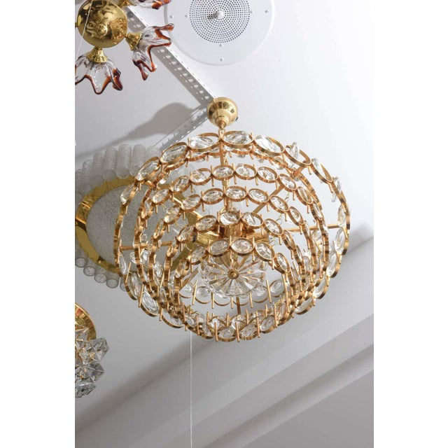 Gold Plate and Crystal Chandelier by Palwa For Sale - Image 9 of 12