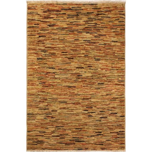 Tan Boho Chic Gabbeh Peshawar Tena Tan/Rust Hand-Knotted Wool Rug -3'2 X 4'10 For Sale - Image 8 of 8