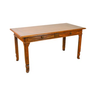 Italian Walnut 2 Drawer Writing Desk Library Table From Bloomingdales