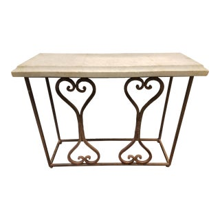 Marble Top With Iron Base Console For Sale