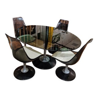 Space Age Chromcraft Smoked Lucite Dining Set - 5 Pieces For Sale