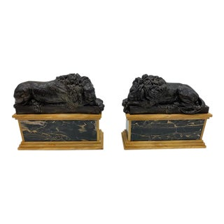 Pair, Bronze Lions on Sienna Marble Bases in the Style of J. Moigniez For Sale