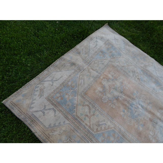 Distressed Oushak Hand Knotted Rug - 5′2″ × 8′4″ For Sale - Image 4 of 9
