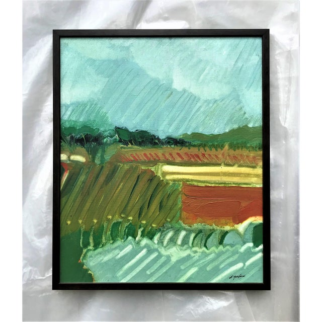 This expressionist landscape is by Norfolk, Virginia artist Norman F. Goodwin. The strokes would indicate that a wide...