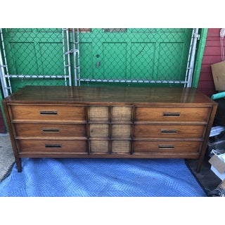 1960s Mid Century Modern Drexel 9 Drawer Dresser With Caned Cabinet Preview