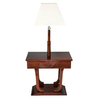 Art Deco, Biedermeier Inspired, Work-Table Lamp in Mahogany Wood, France, 1930s For Sale