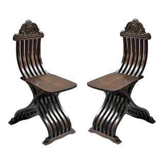 Early 20th Century Italian Renaissance Revival Style Chairs - a Pair For Sale