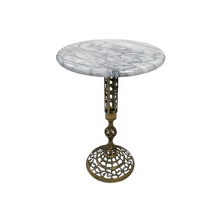 Marble and Brass Filigree Table For Sale