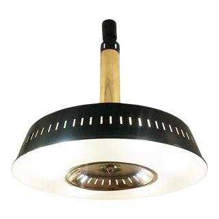 1960s Stilnovo Lacquered Black and Brass Ceiling Light, Italy For Sale