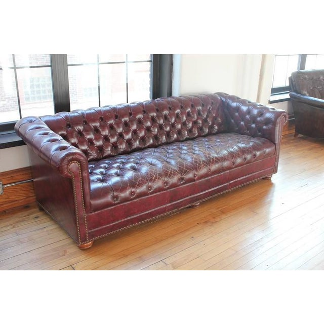 Vintage Distressed Burgundy Leather Chesterfield Sofa Image 4 Of