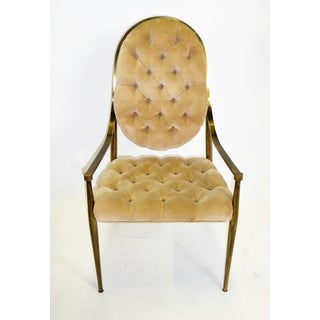 1960s Vintage Mastercraft Brass Tufted Velvet Dining Chairs - Set of 6 Preview