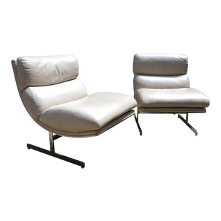 Kipp Stewart for Directional Cream Leather Arc Lounge Chairs - a Pair