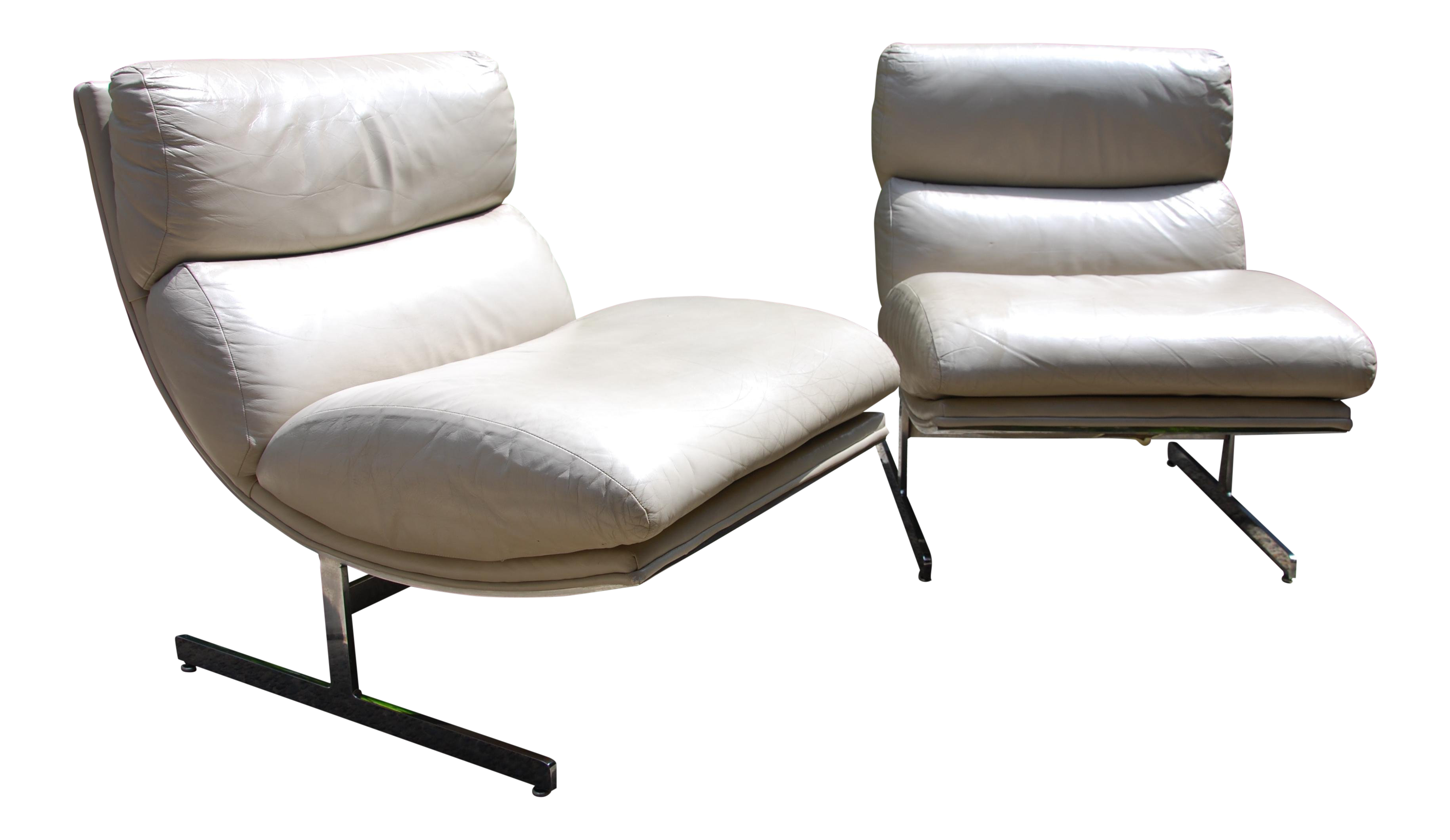 Kipp Stewart For Directional Cream Leather Arc Lounge Chairs   A Pair For  Sale