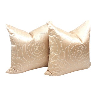 Custom Beacon Hill Blush Camellia Throw Pillows - a Pair For Sale