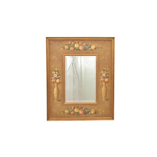 Contemporary Hand Painted Floral Hanging Wall Mirror For Sale