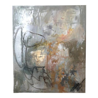 """""""Collective Chaos...Resolve"""" Abstract Painting on Panel With Metallic Accents For Sale"""