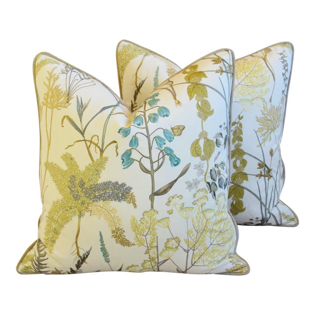 "Botanical Wildflower Floral Feather/Down Pillows 23"" Square - Pair For Sale"
