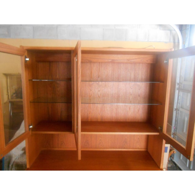 Mid-Century Danish Modern Two Piece China Display Cabinet For Sale - Image 10 of 10