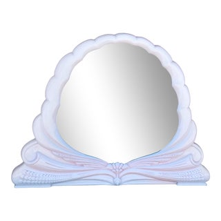 Massive Hollywood Regency Glamorous Bow Front Scalloped Wall Mirror Pink Cream For Sale