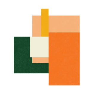 "Color Array 2: Peach, Forest, Tangerine, Ivory, Gold, New Media Print by Jessica Poundstone, 10"" X 10"""