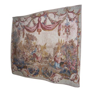 French Linen, Cotton & Wool Tapestry For Sale
