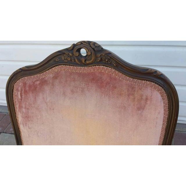 French Louis XV Style Coral Velvet Armchair - Image 4 of 4