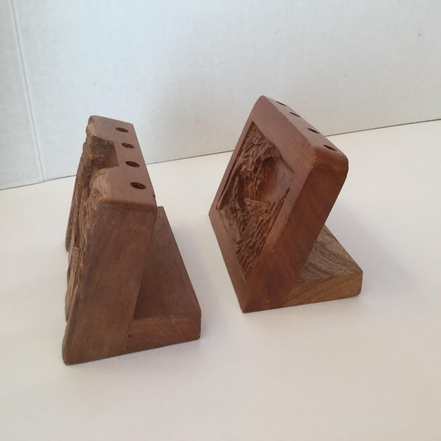 Wood Hand Carved Wood Carvings - A Pair For Sale - Image 7 of 11