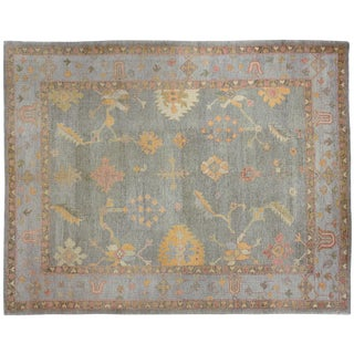 Contemporary Turkish Oushak Rug - 9′2″ × 11′9″ For Sale