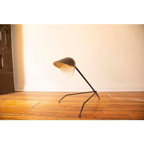 Antique French Tripod Desk Lamp in Serge Mouille Style For Sale In Los Angeles - Image 6 of 8