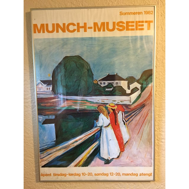 Paper 1980s Edvard Munch the Girls on the Bridge Museet Exhibition Poster Print For Sale - Image 7 of 7