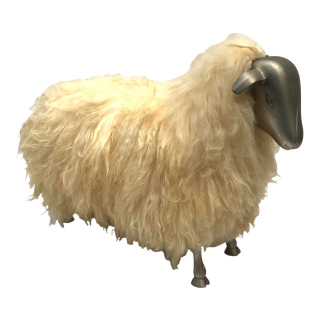 1970's Lalanne Style Sheep Ottoman Stool For Sale
