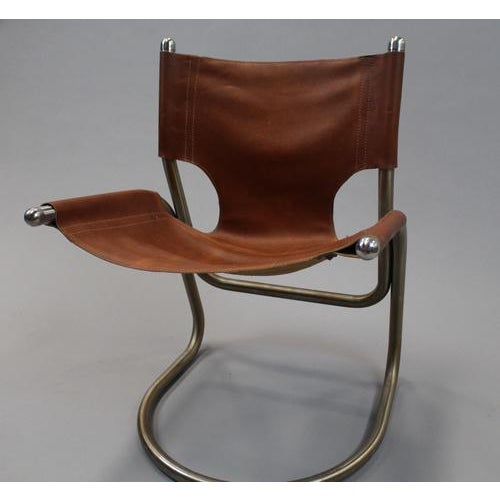 Italian Mid Century Cantilevered Aluminum & Leather Chair For Sale - Image 4 of 4