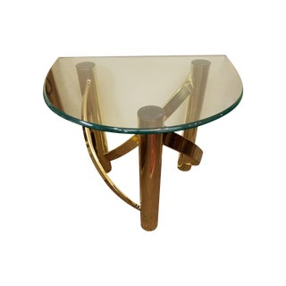 Mid-Century Glass Top & Brass Twisted Base Table For Sale