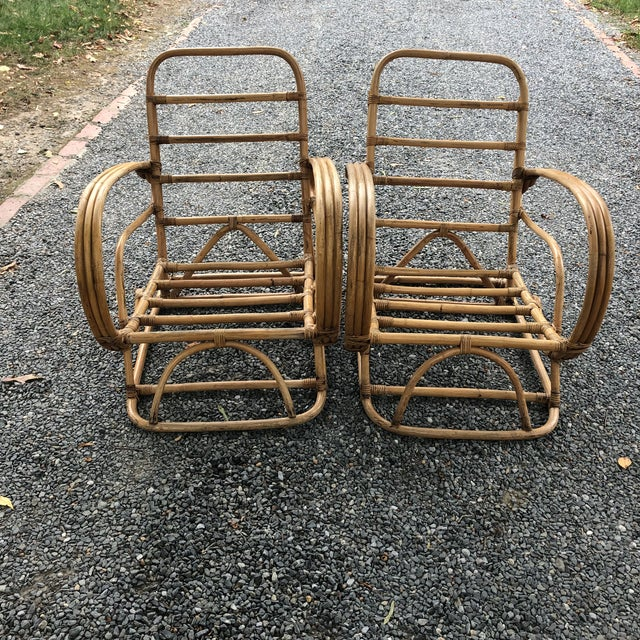 Boho Chic Vintage Rattan Frankl Style Pair Lounge Chairs - A Pair For Sale - Image 3 of 10