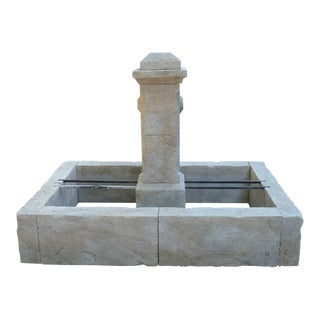 Rectangular 2 Spout Limestone Center Fountain From Provence For Sale