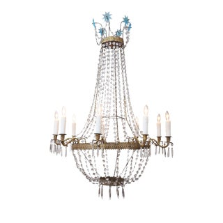 Empire Tole and Crystal Chandelier For Sale