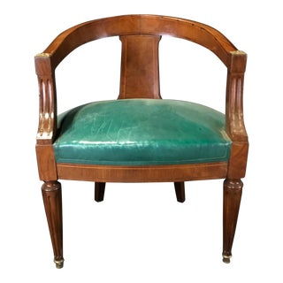 French Walnut Louis XVI Leather Desk or Boudoir Chair For Sale
