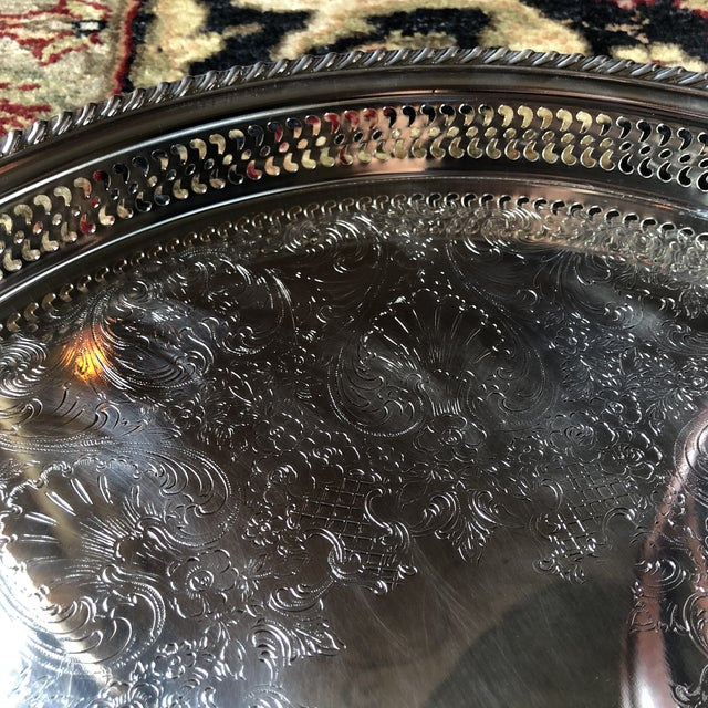 Mid 20th Century Wm Rogers Silver-Plated Round Pierced Gallery Tray For Sale - Image 5 of 11