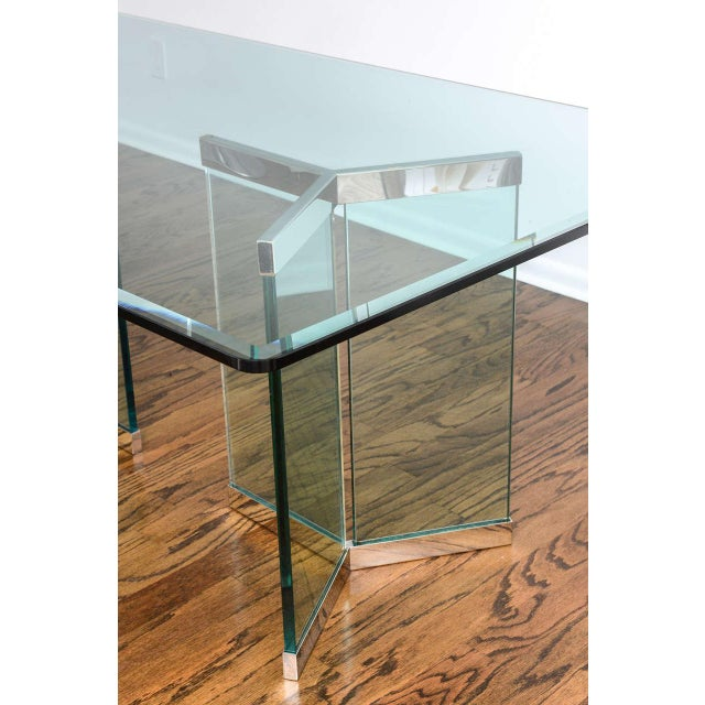 Early 20th Century 1970s Leon Rosen for Pace Collection Chrome & Glass Rectangular Dining Table For Sale - Image 5 of 10