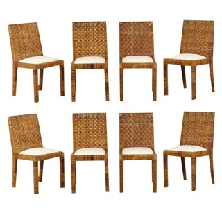 Restored Set of Eight Vintage Rattan Dining Chairs by Bielecky Brothers For Sale